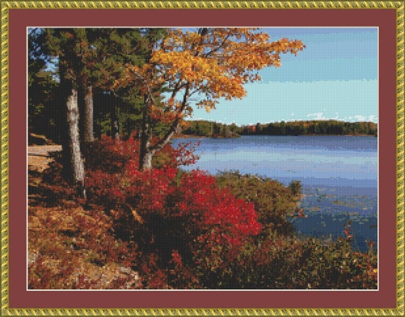 Acadia Landscape Cross Stitch Pattern /Digital PDF Files /Instant downloadable