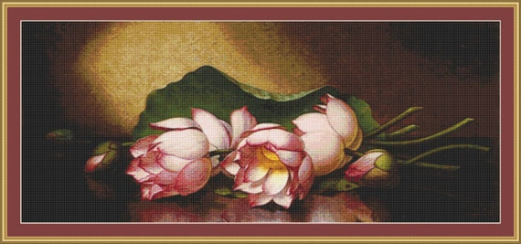 Egyptian Lotus Blossom Cross Stitch Pattern /Digital PDF Files /Instant downloadable
