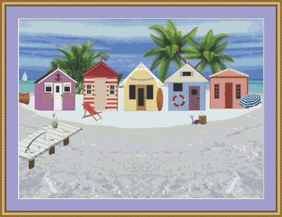 Beach Huts By The Shore Cross Stitch Pattern - Instant Digital Download