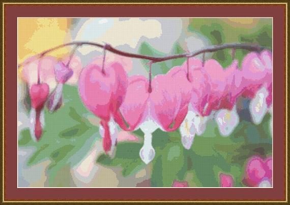 Bleeding Heart Cross Stitch Pattern /Digital PDF Files /Instant downloadable