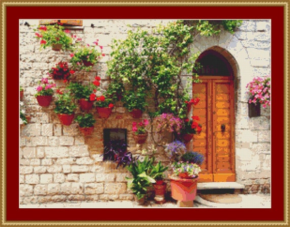 Italian Doorway Cross Stitch Pattern /Digital PDF Files /Instant downloadable