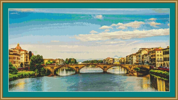 Italian Bridge Cross Stitch Pattern /Digital PDF Files /Instant downloadable