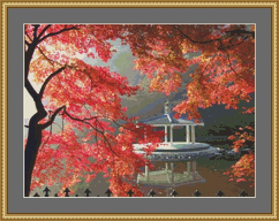 Autumn Gazebo Cross Stitch Pattern /Digital PDF Files /Instant downloadable