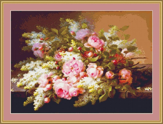 Summer Fragrance Cross Stitch Pattern - Instant Download / Digital PDF Files