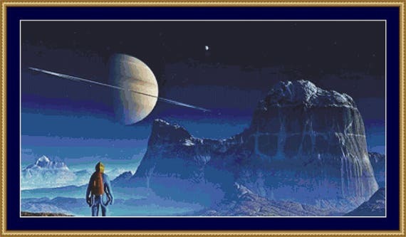 Voyager Moon Cross Stitch Pattern /Digital PDF Files /Instant downloadable
