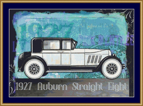 1927 Auburn Straight Eight Cross Stitch Pattern /Digital PDF Files /Instant downloadable