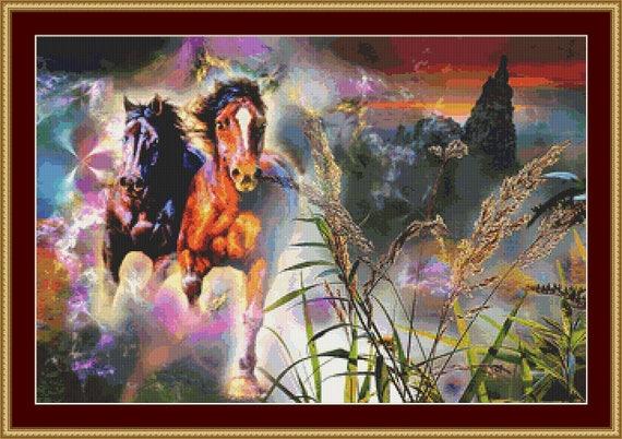 At Full Gallop Cross Stitch Pattern /Digital PDF Files /Instant downloadable