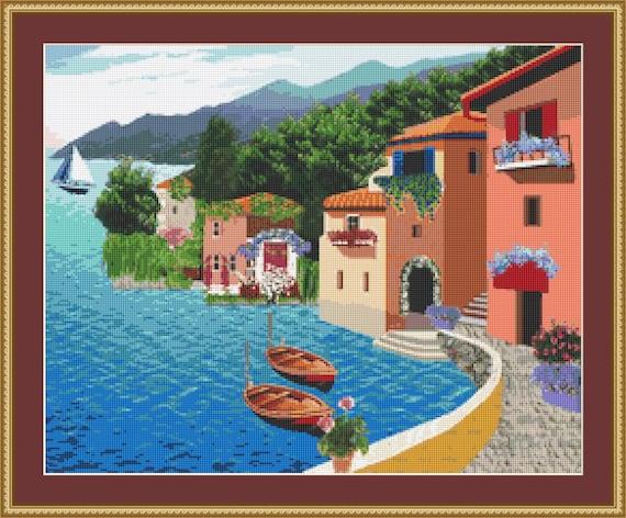 Village By The Sea Cross Stitch Pattern /Digital PDF Files /Instant downloadable
