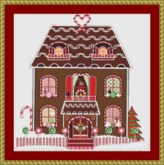 Ginger Bread House Cross Stitch Pattern - Digital Pattern / Instant Download