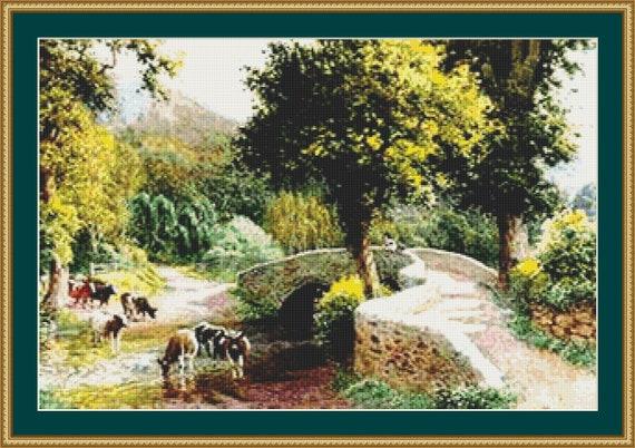 Cows Watering By Dunstar Bridge Cross Stitch Pattern /Digital PDF Files /Instant downloadable