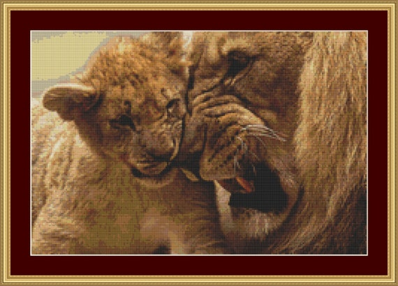 Playful Lions Cross Stitch Pattern /Digital PDF Files /Instant downloadable
