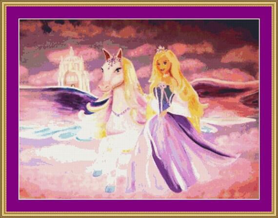 Princess And Pegasus Cross Stitch Pattern /Digital PDF Files /Instant downloadable