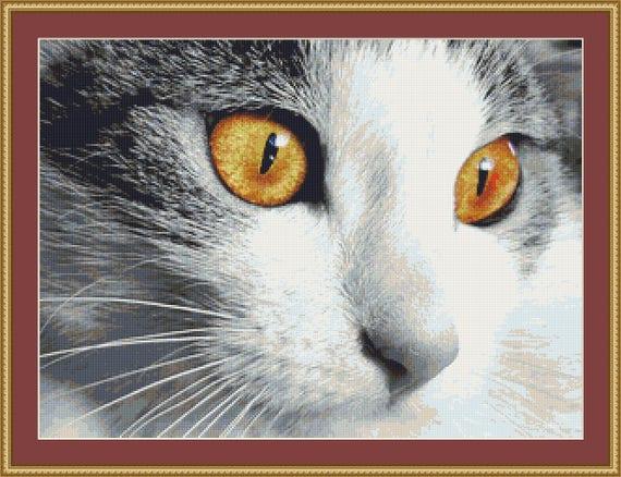Cat Face Cross Stitch Pattern /Digital PDF Files /Instant downloadable