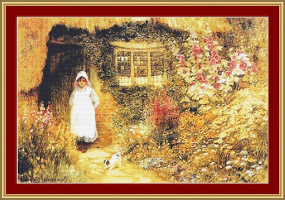 Girl With Dog Outside Cottage Cross Stitch Pattern /Digital PDF Files /Instant downloadable