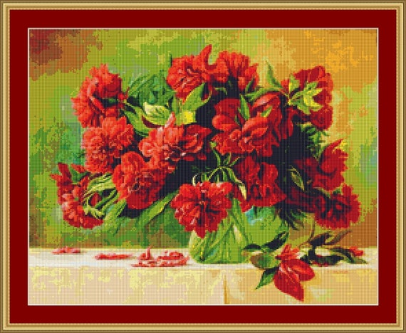 Peonies Cross Stitch Pattern /Digital PDF Files /Instant downloadable