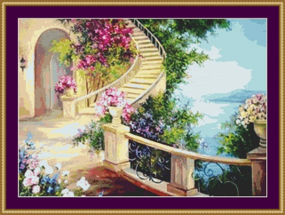 The Garden Staircase Cross Stitch Pattern - Instant Download / Digital Pattern