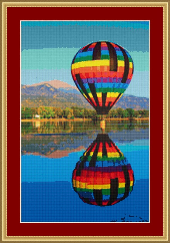 Balloon Reflection Cross Stitch Pattern /Digital PDF Files /Instant downloadable