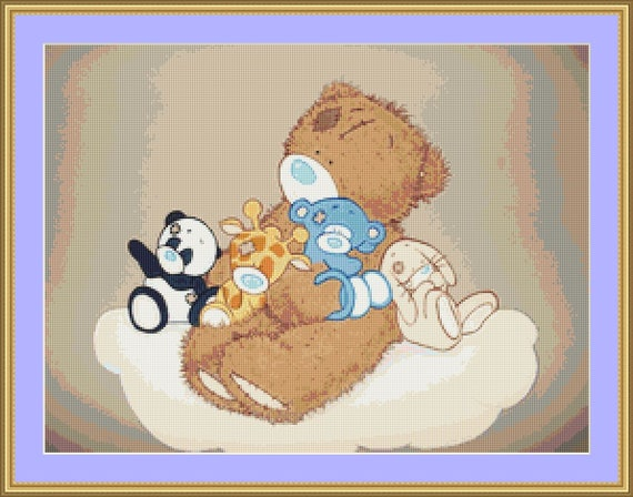 Teddy And Friends Cross Stitch Pattern /Digital PDF Files /Instant downloadable