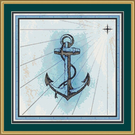 Anchor Cross Stitch Pattern /Digital PDF Files /Instant downloadable