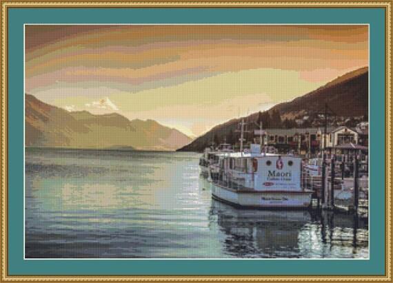 Serene Queenstown Cross Stitch Pattern /Digital PDF Files /Instant downloadable