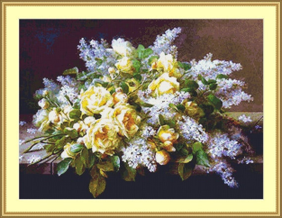 Yellow Roses And Lilacs Cross Stitch Pattern /Digital PDF Files /Instant downloadable