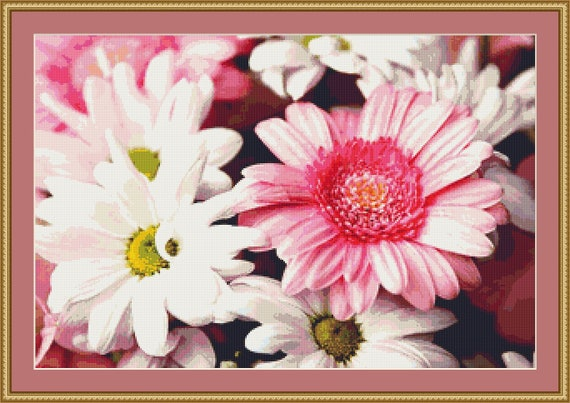 Gerberas And Chrysanthemums Cross Stitch Pattern /Digital PDF Files /Instant downloadable