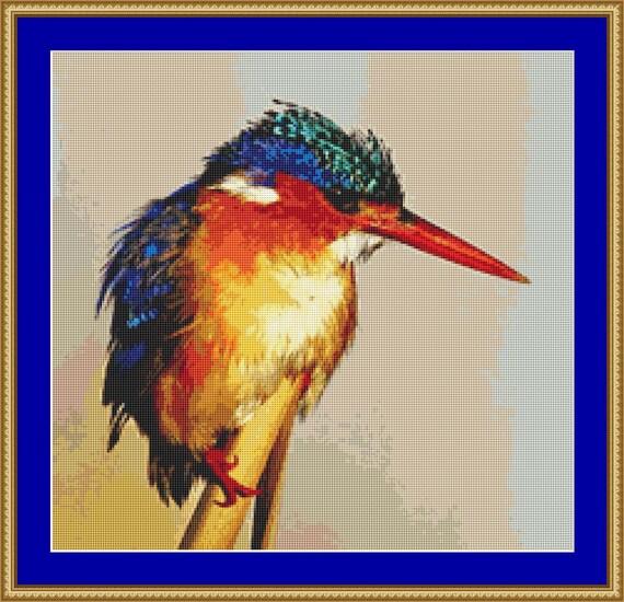 Kingfisher Cross Stitch pattern /Digital PDF Files /Instant downloadable