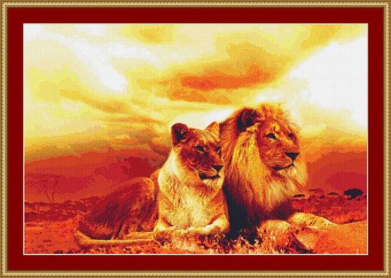 Lions Cross Stitch Pattern /Digital PDF Files /Instant downloadable