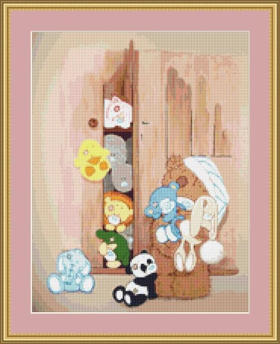 Toys In Cupboard Cross Stitch Pattern /Digital PDF Files /Instant downloadable