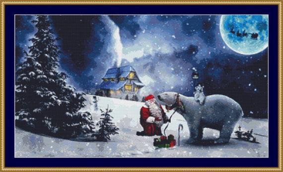 Christmas Scene Cross Stitch Pattern - Instant Download / Digital Pattern