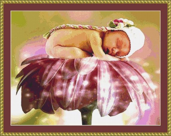 Asleep On The Flower Cross Stitch Pattern /Digital PDF Files /Instant downloadable