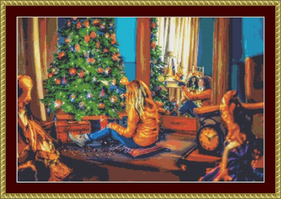 By The Christmas Tree Cross Stitch Pattern - Instant Download / Digital Pattern