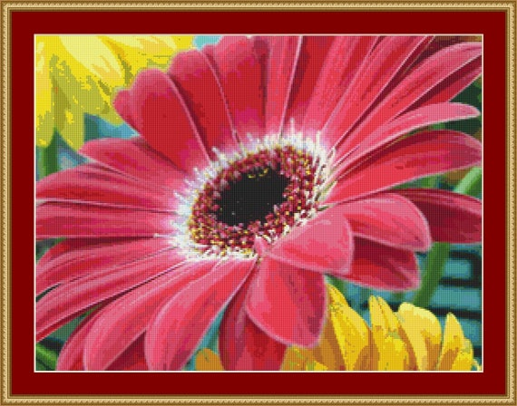 Bright Red Flower Cross Stitch Pattern /Digital PDF Files /Instant downloadable