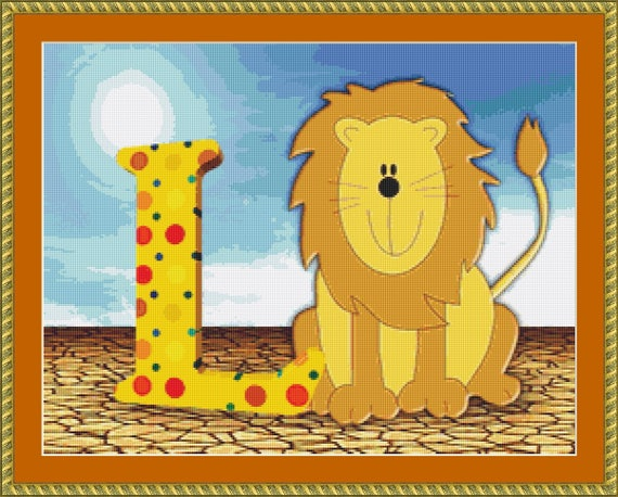 L Is For Lion Cross Stitch Pattern /Digital PDF Files /Instant downloadable