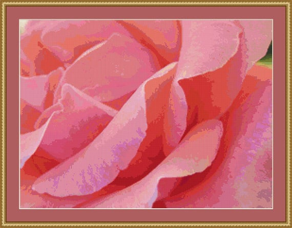 Pretty Pink Rose Petals Cross Stitch Pattern - Free Download