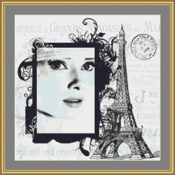 Audrey In Paris Cross Stitch /Digital PDF Files /Instant downloadable
