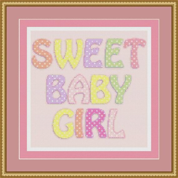 Sweet Baby Girl Cross Stitch Pattern /Digital PDF Files /Instant downloadable