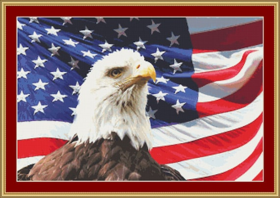 Eagle And Flag Cross Stitch Pattern /Digital PDF Files /Instant downloadable