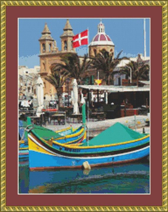 Fishing Port, Malta Cross Stitch Pattern /Digital PDF Files /Instant downloadable