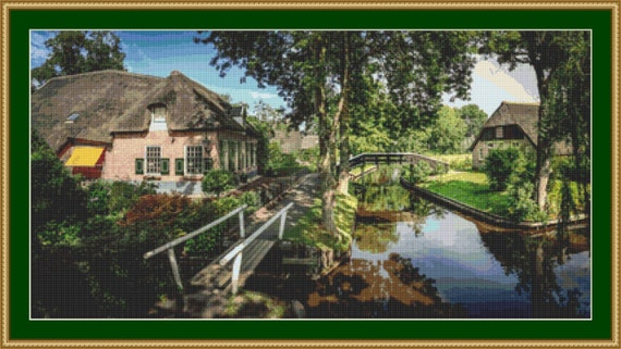Tranquil Canal Cross Stitch Pattern /Digital PDF Files /Instant downloadable