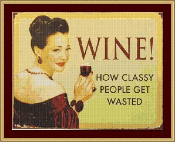 Wine Cross Stitch Pattern /Digital PDF Files /Instant downloadable