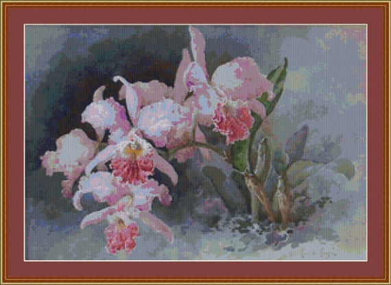 Pink Orchid Cross Stitch Pattern /Digital PDF Files /Instant downloadable