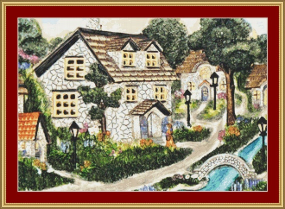 Village Cross Stitch Pattern /Digital PDF Files /Instant downloadable