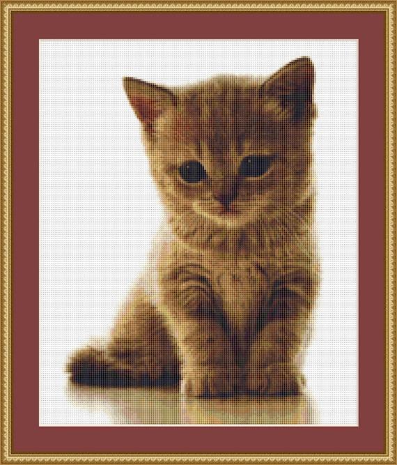 A Sweet Kitten Cross Stitch Pattern - Instant Downloadable / Digital PDF Pattern