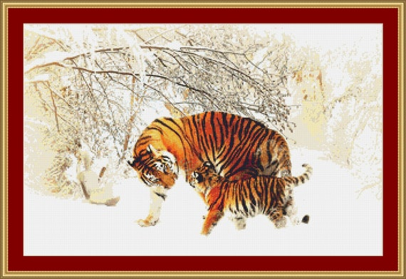 Mother Tiger And Cub Cross Stitch Pattern /Digital PDF Files /Instant downloadable