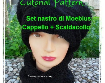 Pattern Tutorial in Italian Pdf for Hat + Neck warmer handband. Also  available in English. 44e07072ccd
