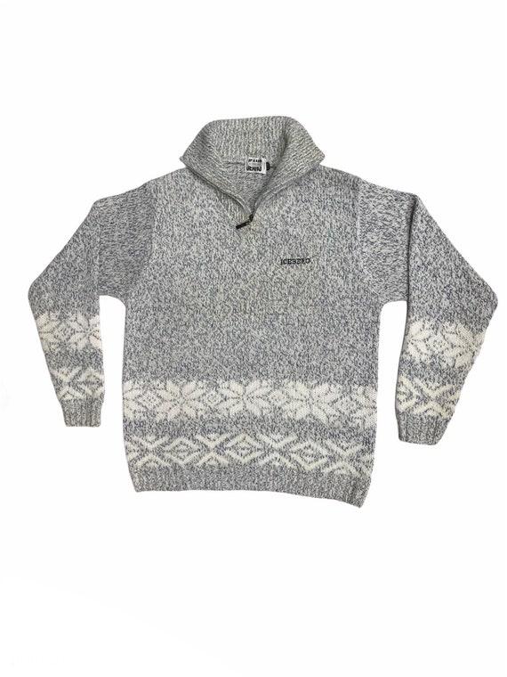 Vintage Mens Medium Iceberg Bugs Bunny Looney Tunes Color Block Italian Wool Crewneck Pullover Sweater