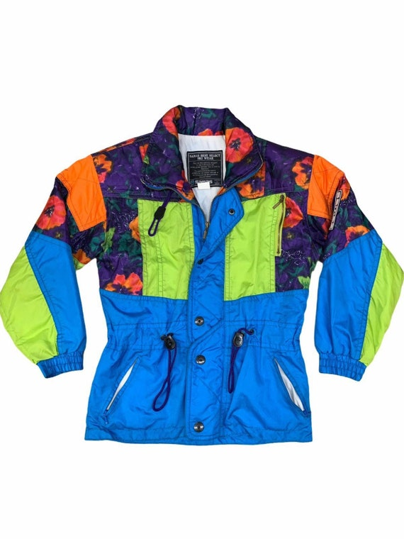 Vintage Winter Ski Jacket Neon Green Multicoloured