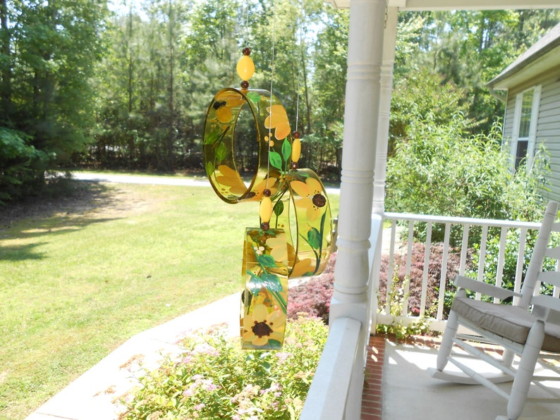Wind Chime Black Eyed-Susan made from recycled wine bottle fashioned  into a Wine-Chime!