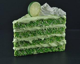 Jumbo Fake Cake Slice Faux Decorative Cake Fake Food Prop Display Coconut Lime Cake
